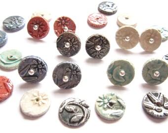 Ceramic raku earstuds