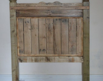 Rustic handmade  chunky reclaimed wood single headboard