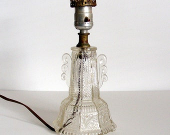 1930s Crystal Pressed Glass Table Lamp