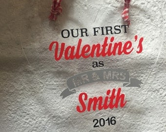 First Valentines as Mr and Mrs Hanging Heart Ornament. For newly weds, first anniversary gift.