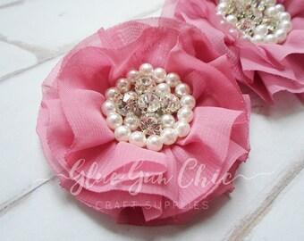 Chiffon pearl flower - dusty pink flower - rose pink - rhinestone flower - chiffon flower 1pcs