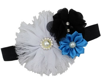 White, Black, & Turquoise Jasmine Headband