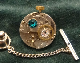 Tie Tack/Lapel Pin/Hat Pin, Steampunk-style, Free U.S. Shipping