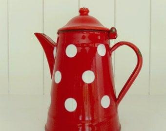 Red polkadot cafétière
