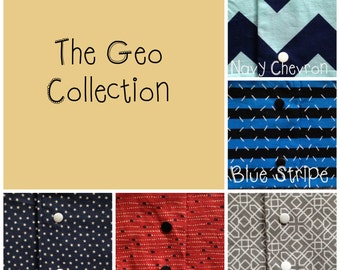 "Baby Drool Scarves - Bundle Deal - 5 Drool Scarves - ""Geo"" Collection - Baby Bibs"