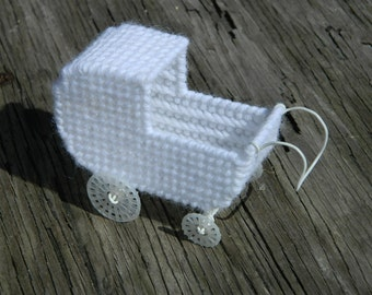 Doll Carriage | Dollhouse Play | Baby Buggy | Baby Shower Gift | 3D Plastic Canvas Creations