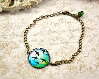 Flying Bird Bracelet, Free Bird Bracelet, Bird Jewelry, Botanical Jewelry, Bird on Brunch, Doves, Sparrows, Bohemian Jewelry, Resin Bracelet