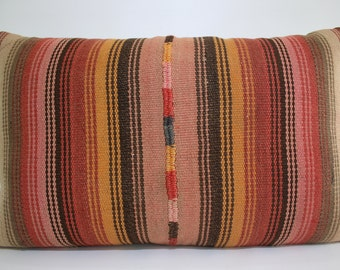 Handwoven Kilim Pillow Cover 20x32 inches King Size Lumbar Kilim Pillow Handwoven Kilim Pillow Case Pastel Kilim Pillow Cover SP5080