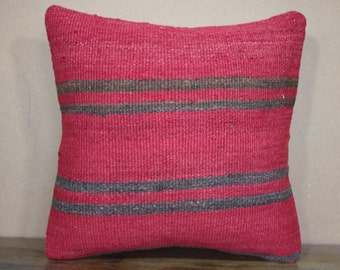 16x16 Pillows,Red,Brown Plaid Turkish Kilim Pillow Cushion Cover,Sofa Pillow,Bohomian Pillow Decorative Pillow,Throw Pillow SP40-255
