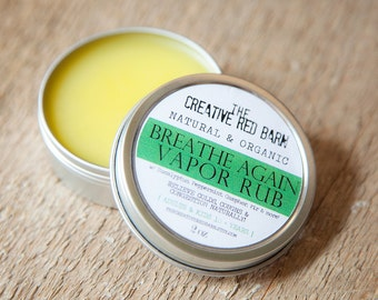 Organic Medicated Chest Vapor Rub ~ Adults and Children 10 Plus Years ~ Natural Nasal Decongestant, Aromatherapy, Get Well Gift Basket Idea