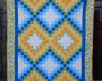 Spring Quilt, Daffodil Quilt, Lap Quilt,  Yellow Green Blue Quilt, Floral Quilt