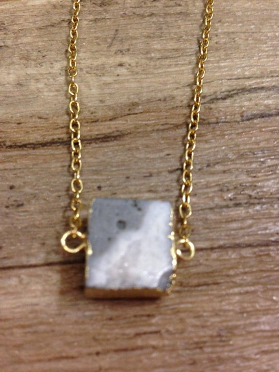 Marble Stone Jewelry : Marble necklace square stone by