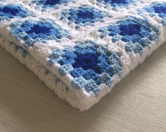 Blue Crochet Granny Square Baby Blanket