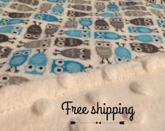 Owl baby blanket - owl theme - blanket owls - boy owl - minky blanket -grey and blue