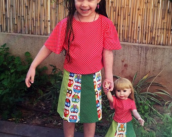 matching girls 1-8 years and 18 inch doll. PDF Skirt and top Pattern, PDF Shirt pattern, for American Girl 18 inch, Doll Clothes Pattern