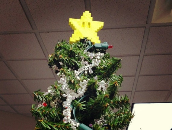 Mario Pixel Star Christmas Tree Topper By EngraveCraze On Etsy