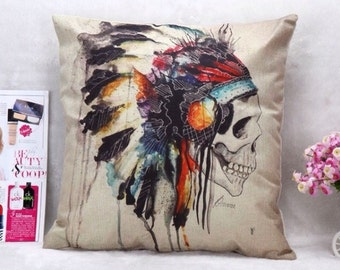 Native American Skull Decorative Pillow