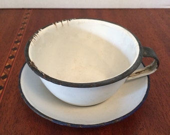 Enamelware vintage cup and saucer