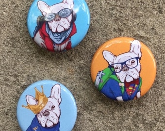 Pin back Buttons - French Bulldog - pack of three - free shipping
