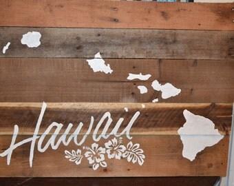 Hawaii Islands pallet art/ flowers