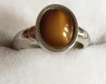 Handmade Tigers Eye silver ring