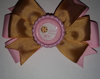 Cookies and milk BFF hair bow set