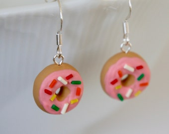 Donut Earrings with Pink Frosting and Rainbow Sprinkles - Miniature Polymer Clay Food Jewelry
