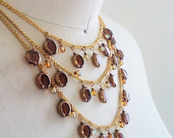 Multi- Layered Amber Beaded Necklace