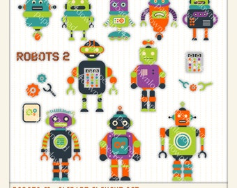 Robots 2 - colorful robots - Clipart - Digital Collage, PNG files, Instant Download