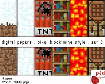Pixel Block Mine Style Papers - Set 2 - Digital Paper, 300 dpi JPG, Printable, Instant Download