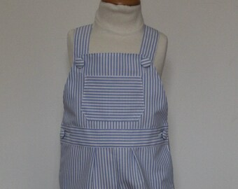 Blue striped canvas T 12-18 month overalls