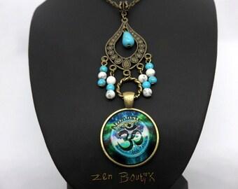 Collar Zen Om Namaste Aum Turquoise Medallion Aum Om Namaste, Bronze beads Turquoise Blue White, jewel Zen, Gift for women, gift wife