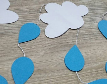 Cloud and Raindrop Garland, Nursery Decor, Clouds and Raindrops, Kids Room Decor,  Bunting,  Baby Shower,