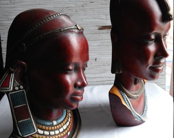 Vintage Pair of Achatit Germany Wall Mountings of a Male Masai Warrior and His Bride. Nicely Painted.