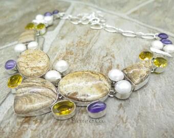 Jasper Citrine Amethyst Pearl Sterling Silver Necklace