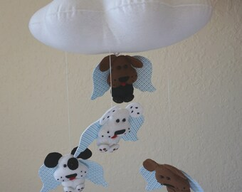 Cloud Dogs Mobile, Nursery Mobile, Dogs Mobile, Cloud crib mobile, baby room decoration, baby room mobile, Angel Dogs Mobile, cloud mobile