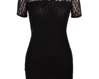 Black Lace Dress, short sleeve lace dress, bodycon dress, black mini dress, lace dress