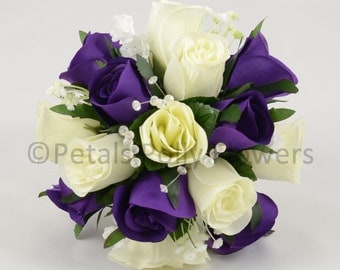 Artificial Wedding Flowers, Purple & Ivory Bridesmaids Bouquet Posy