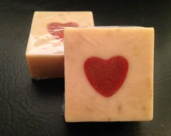 Heart of gold bar soap, cherry vanilla soap