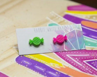 Sweets Stud Earrings In Neon Lime and Pink