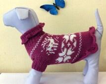 Knit Pattern Sweater For Dog.  Pet Pattern Dress. Knit Dog Pattern  Clothing. Sweater for Dog. Dog Clothes. Size S