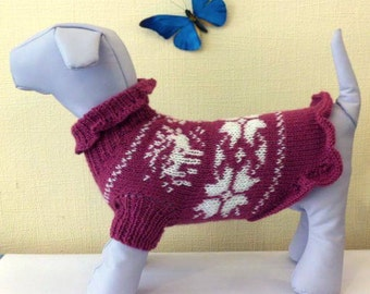 Knit Pattern Sweater For Dog.  Pet Pattern Dress. Knit Dog Pattern  Clothing. Sweater for Dog. Dog Clothes. Size S