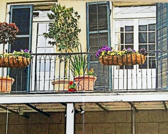 New Orleans Framed Photo Shop Porch 8x10 Matted Framed Photograph Colorful Street Scene