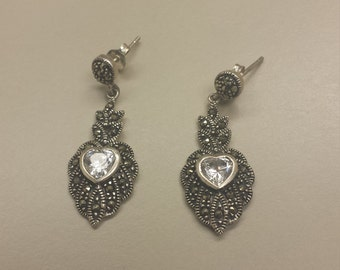 Sterling Silver .925 Earrings With Marcasite and CZ