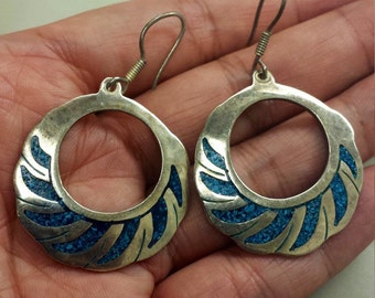 Sterling Silver .925 with turquoise, dangle, hoop earrings