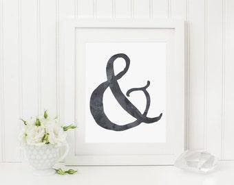 Black & White Watercolor Ampersand Print, 8x10 | 11x14, Prints, Printables, Digital Art, Watercolour