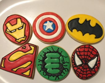 Superhero Cookies Mix of Six (1 dozen)