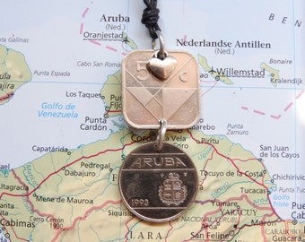 Aruba coin necklace/keychain - 2 different designs - made of an original coin from Aruba, Lesser Antilles