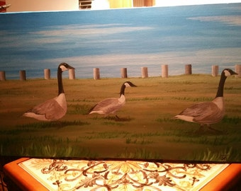 Canadian Geese on Canvas-Original Painting