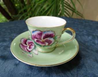 "Occupied Japan Tea Cup and Saucer with Painted Pansies - ""Merit"" China Demi Tasse"